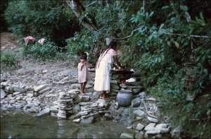 Nahua Woman and Boy Washing Clothes, 1970